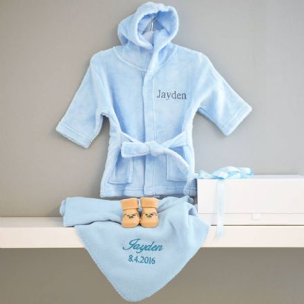 Personalised Dressing Gown And Blanket Baby Boy Hamper